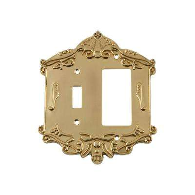 Victorian Switch Plate with Toggle and Rocker in Unlacquered Brass