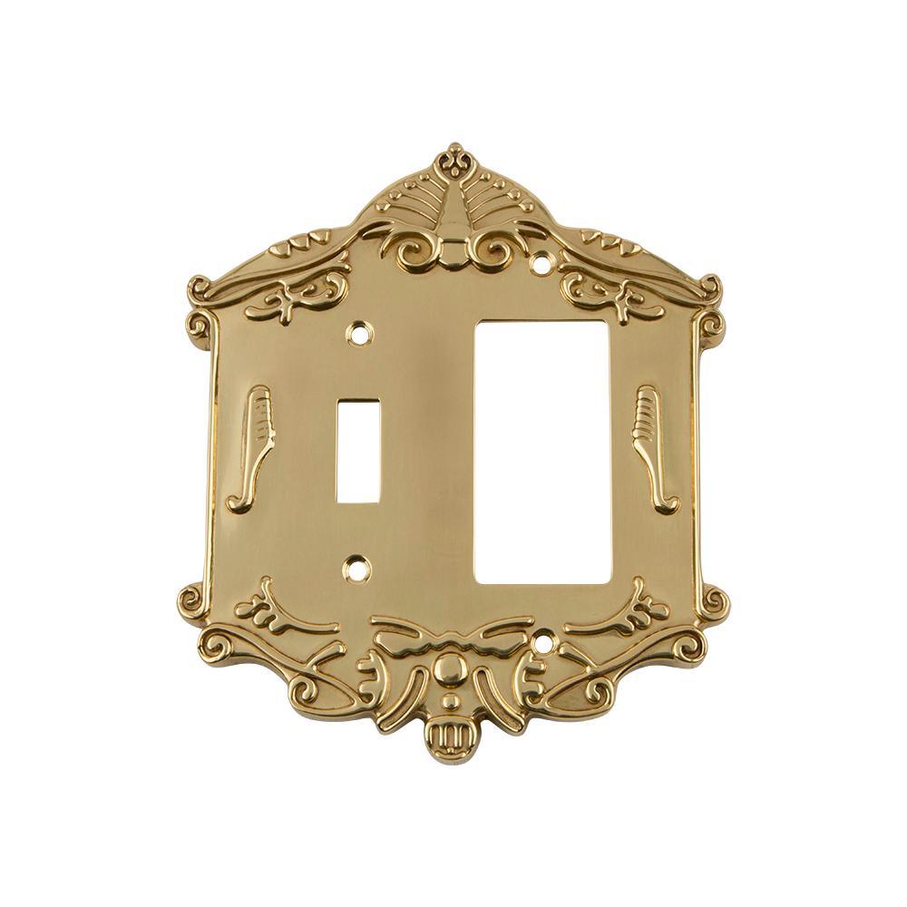Brass 2-Gang 1-Toggle/1-Decorator/Rocker Wall Plate (1-Pack)