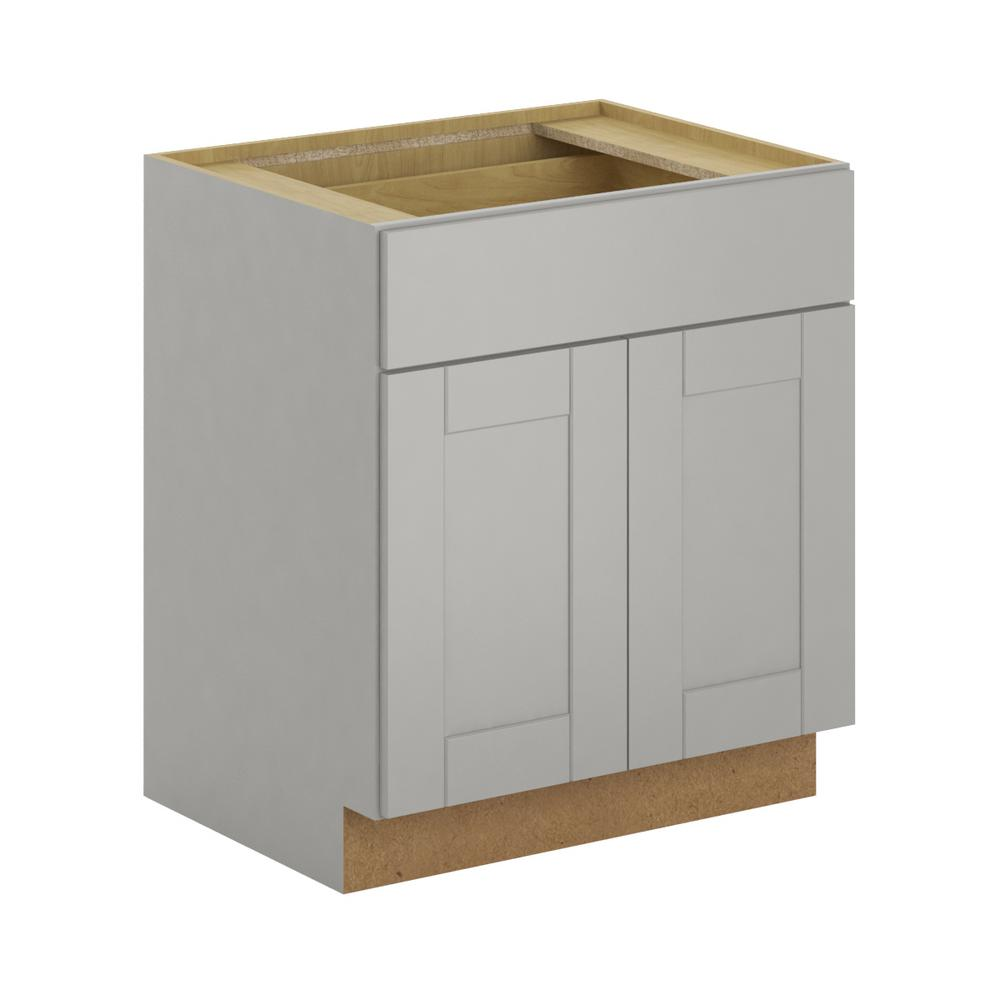 Hampton bay princeton shaker assembled in base for Assembled kitchen cabinets