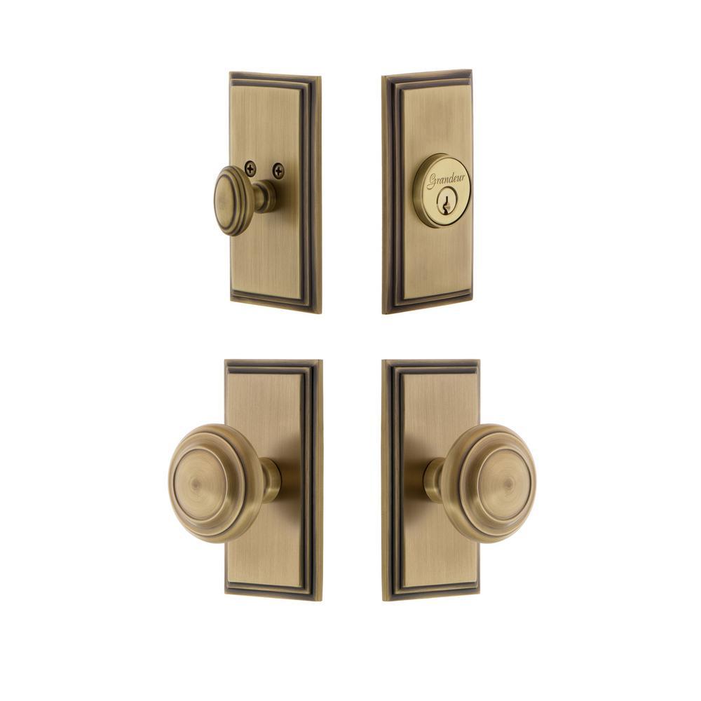 Carre Plate 2-3/4 in. Backset Vintage Brass Circulaire Door Knob with Single Cylinder Deadbolt