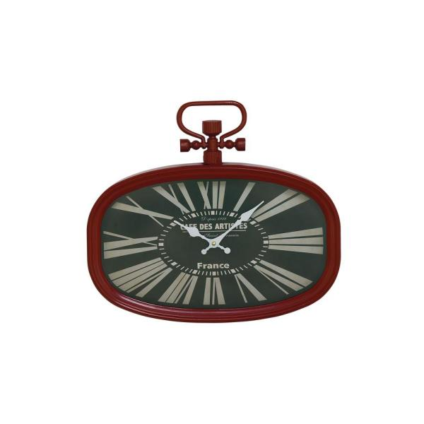 Red and Black Oval-Framed French-Inspired Wall Clock
