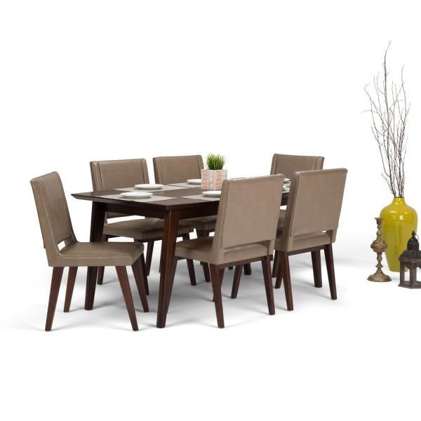 e6b4fd2cef Simpli Home Draper 7-Piece Dining Set with 6 Upholstered Dining Chairs in Ash  Blonde Leather and 66 in. Wide Table AXCDS7DRP-ASB - The Home Depot