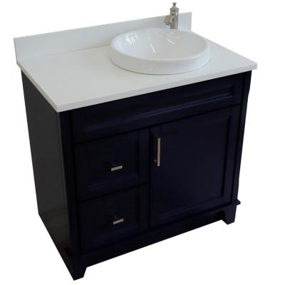 37 in.W x 22 in.D Single Vanity in Blue w Quartz Vanity Top in White w Right White Round Basin & Door on Right Side