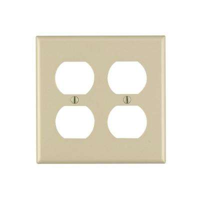 2-Gang Duplex Outlet Wall Plate, Ivory