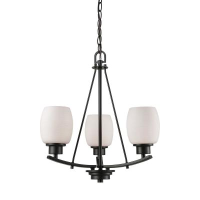 Casual Mission 3-Light Oil Rubbed Bronze Chandelier With White Lined Glass Shades