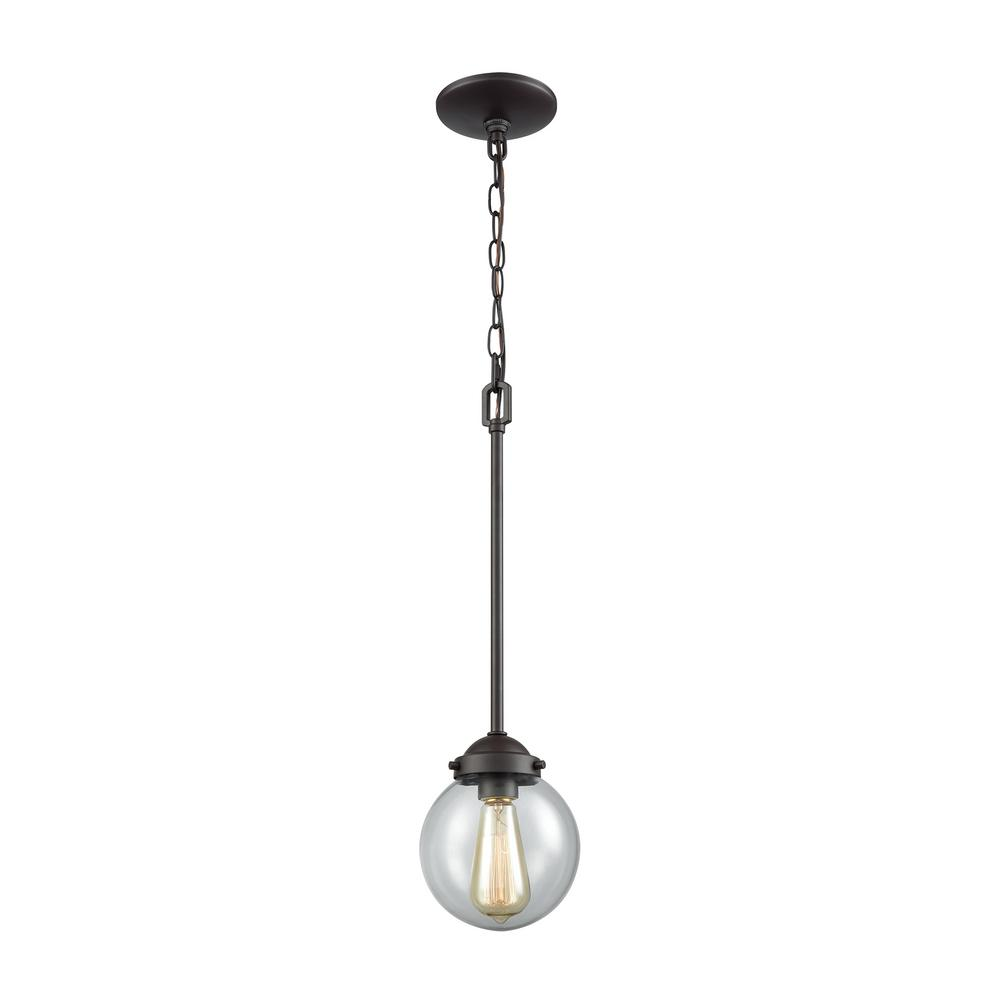Beckett Small 1-Light Oil Rubbed Bronze with Clear Glass Pendant
