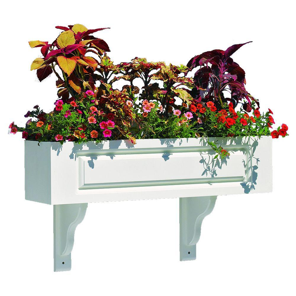 Hampton Composite PVC Window Box - 60 in. (3 Brackets) by