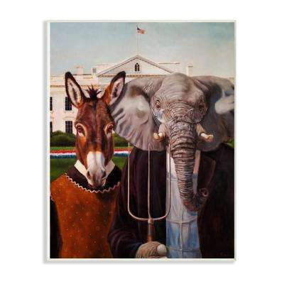 "12.5 in. x 18.5 in. ""Political Satire American Gothic Farm Animal Painting"" by Lucia Heffernan Wood Wall Art"