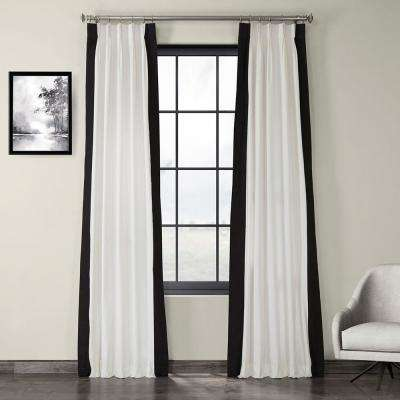 Fresh Popcorn and Black Room Darkening Pleated Vertical Colorblock Curtain - 25 in. W x 84 in. L