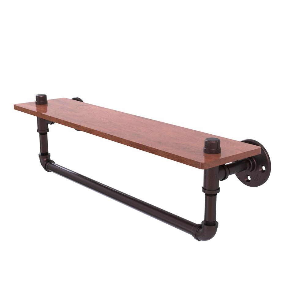 Allied Brass Pipeline Collection 22 in. Ironwood Shelf wi...