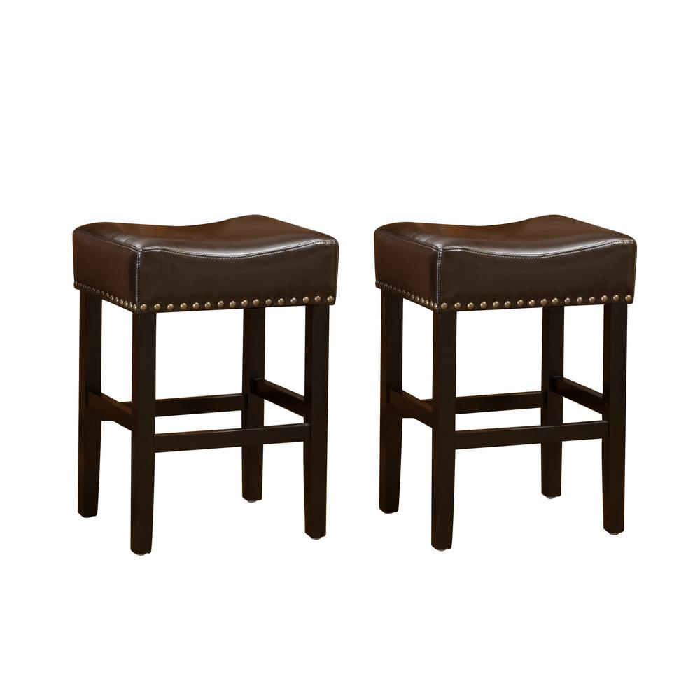 noble house laramie 30 in chocolate brown leather backless bar stool set of 2 296230 the. Black Bedroom Furniture Sets. Home Design Ideas
