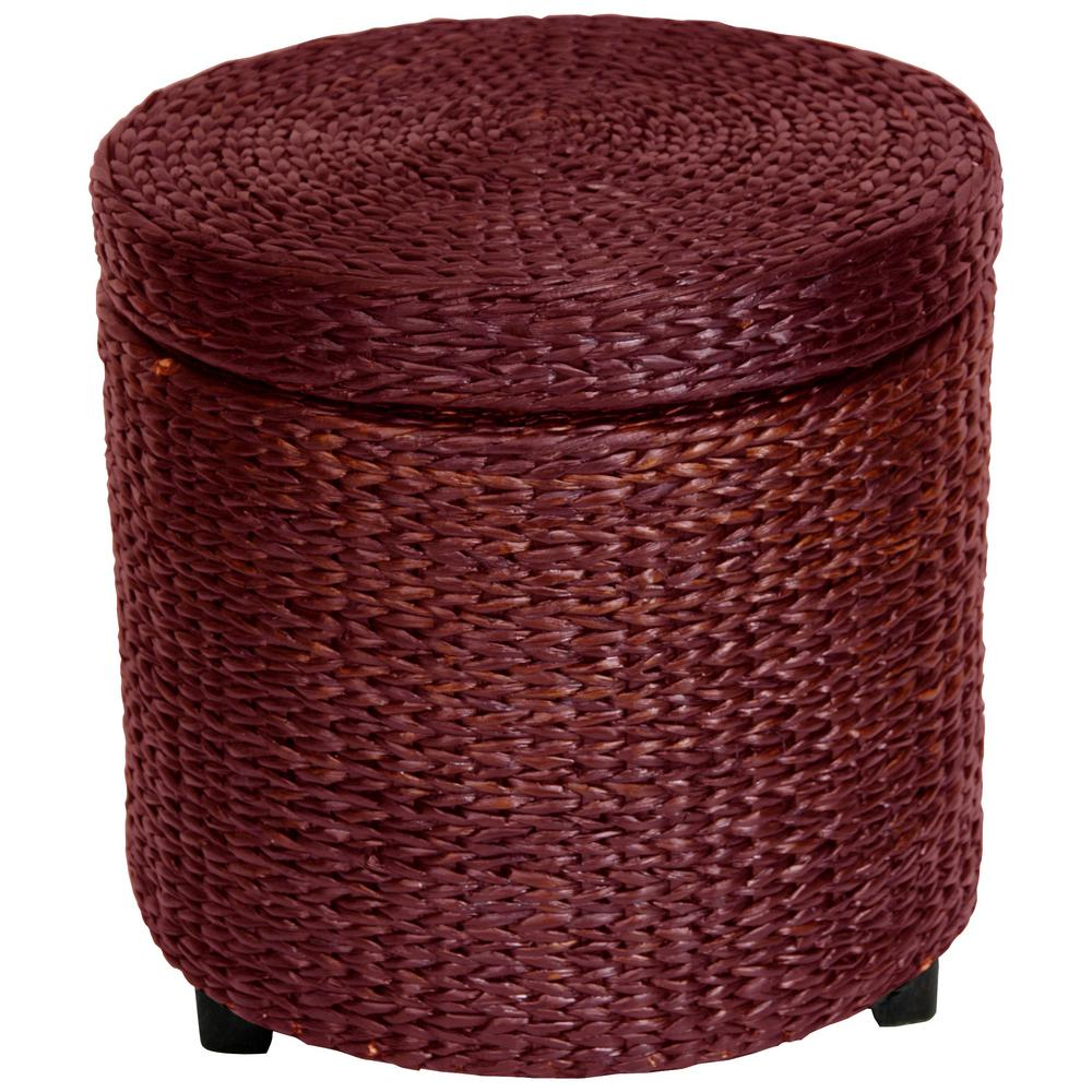 Red And Brown Storage Ottoman