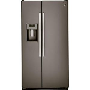 GE 33 inch W 23.2 cu. ft. Side by Side Refrigerator in Slate, with Icemaker and Fingerprint Resistant by GE