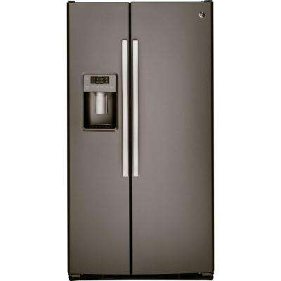 33 in. W 23.2 cu. ft. Side by Side Refrigerator in Slate, with Icemaker and Fingerprint Resistant
