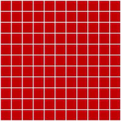 12 in. x 12 in. x 4 mm Tile'ESQUE Red Glass Mesh-Mounted Mosaic Tile