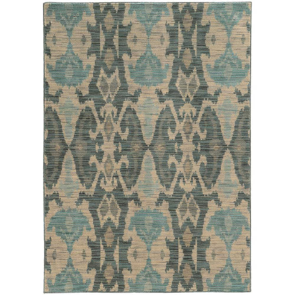 Angel Beige and Blue 6 ft. 7 in. x 9 ft.