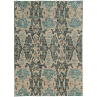 Angel Beige and Blue 10 ft. x 13 ft. Area Rug