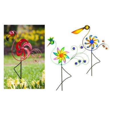 31 in. Cheerful Summer Birds Kinetic Wind Spinners (3-Set)