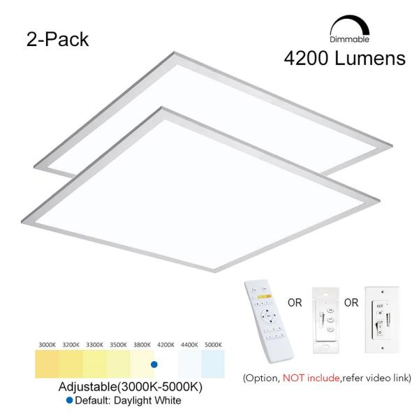 2 ft. x 2 ft. Commercial 4200LM/40W Integrated LED White 3000-5000K Color Dimmable Drop Ceiling Flat Panel Troffer Light