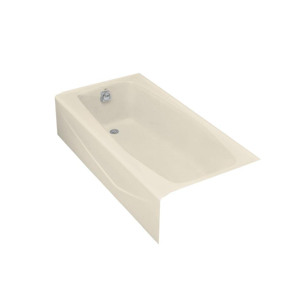 Left Hand Drain Rectangular Alcove Cast Iron Bathtub In Almond