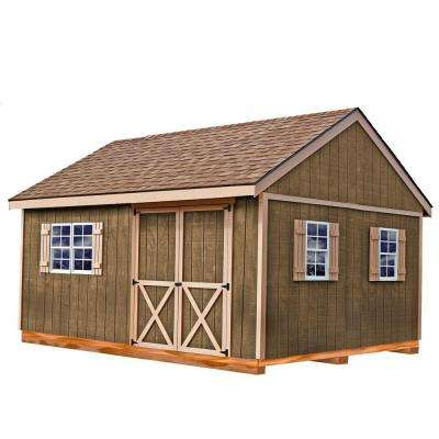 New Castle 16 ft. x 12 ft. Wood Storage Shed Kit with Floor Including 4 x 4 Runners
