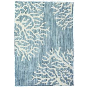 Hampton Bay Coral Aqua 5 Ft X 7 Ft Flat Weave Indoor