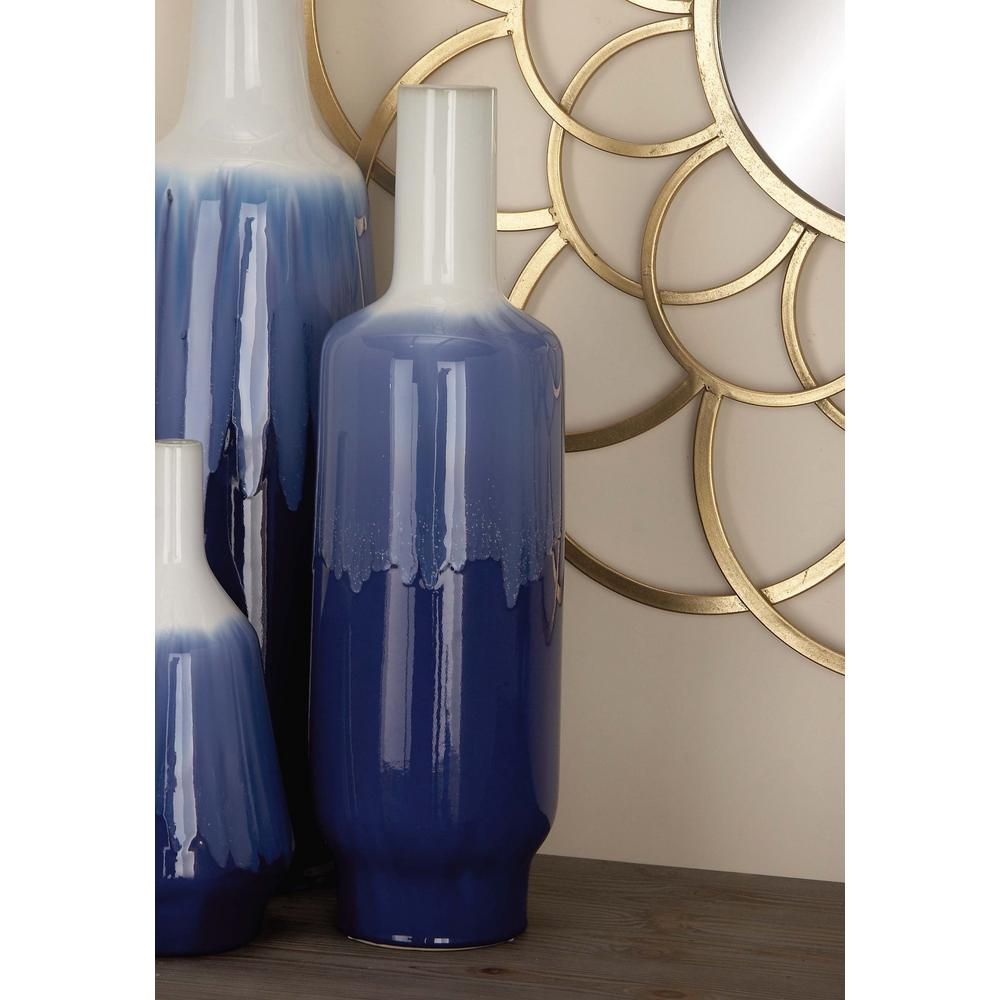 24 in. Bottle-Shaped White and Blue Ceramic Decorative Vase