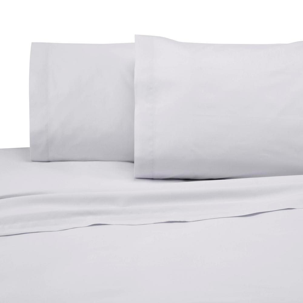225 Thread Count White Cotton Queen Sheet Set
