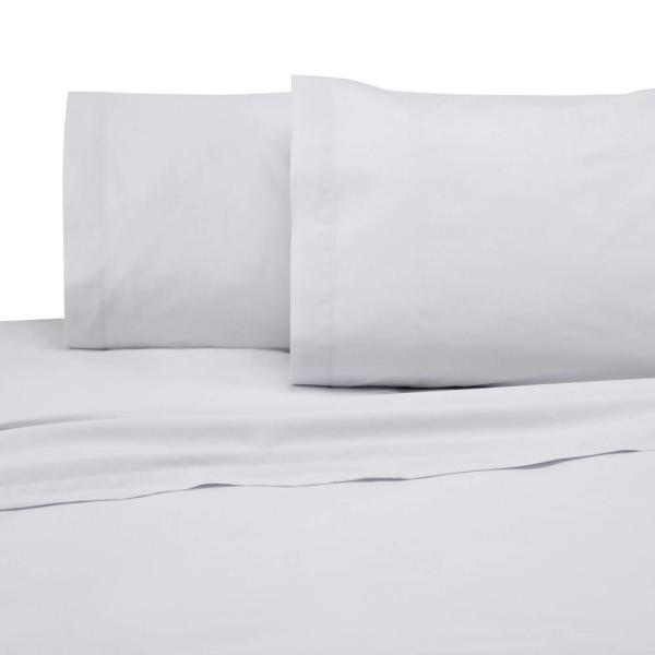 4-Piece White Solid 225 Thread Count Cotton Blend Queen Sheet Set