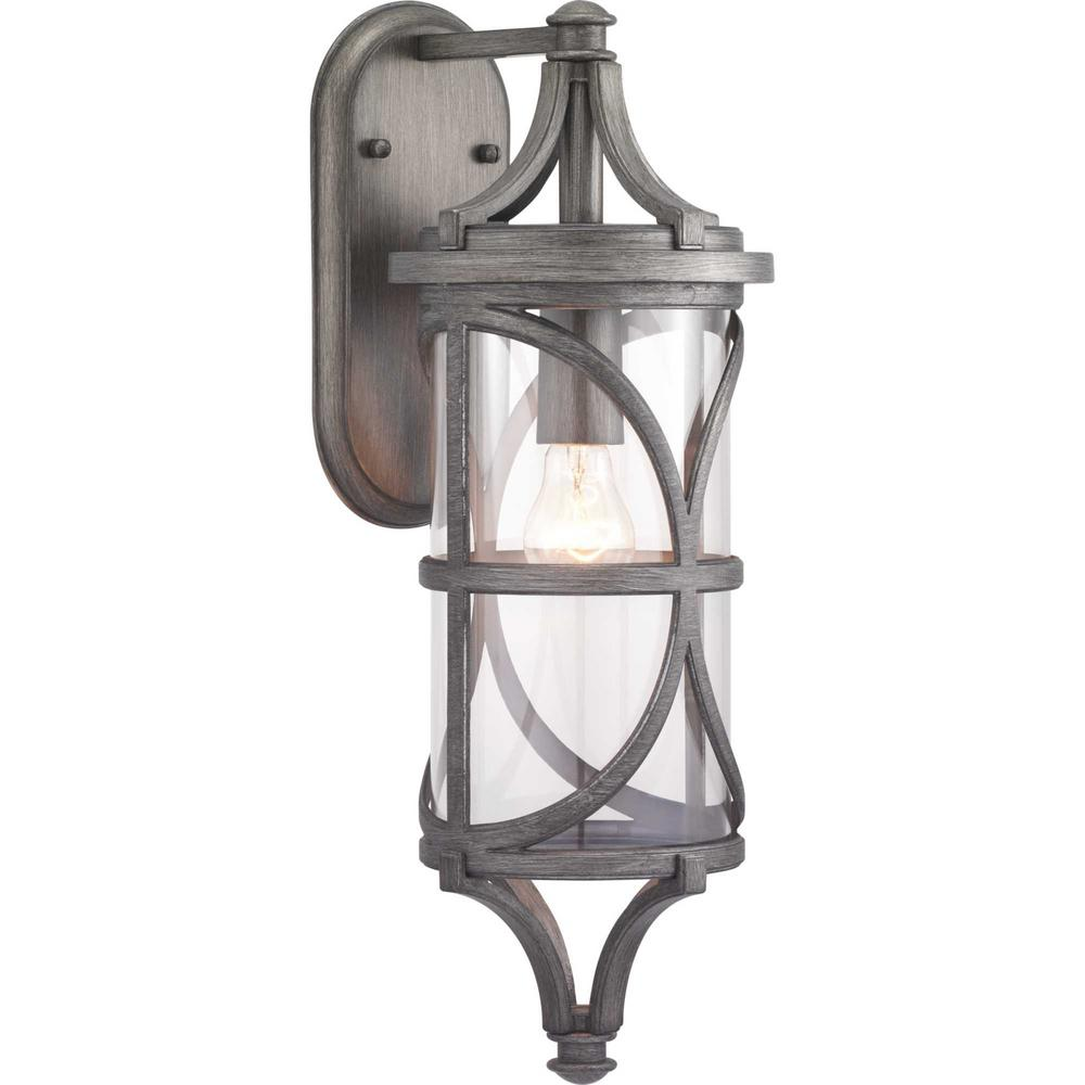 Progress Lighting Morrison Collection 1-Light Antique Pewter Outdoor Wall Lantern Sconce