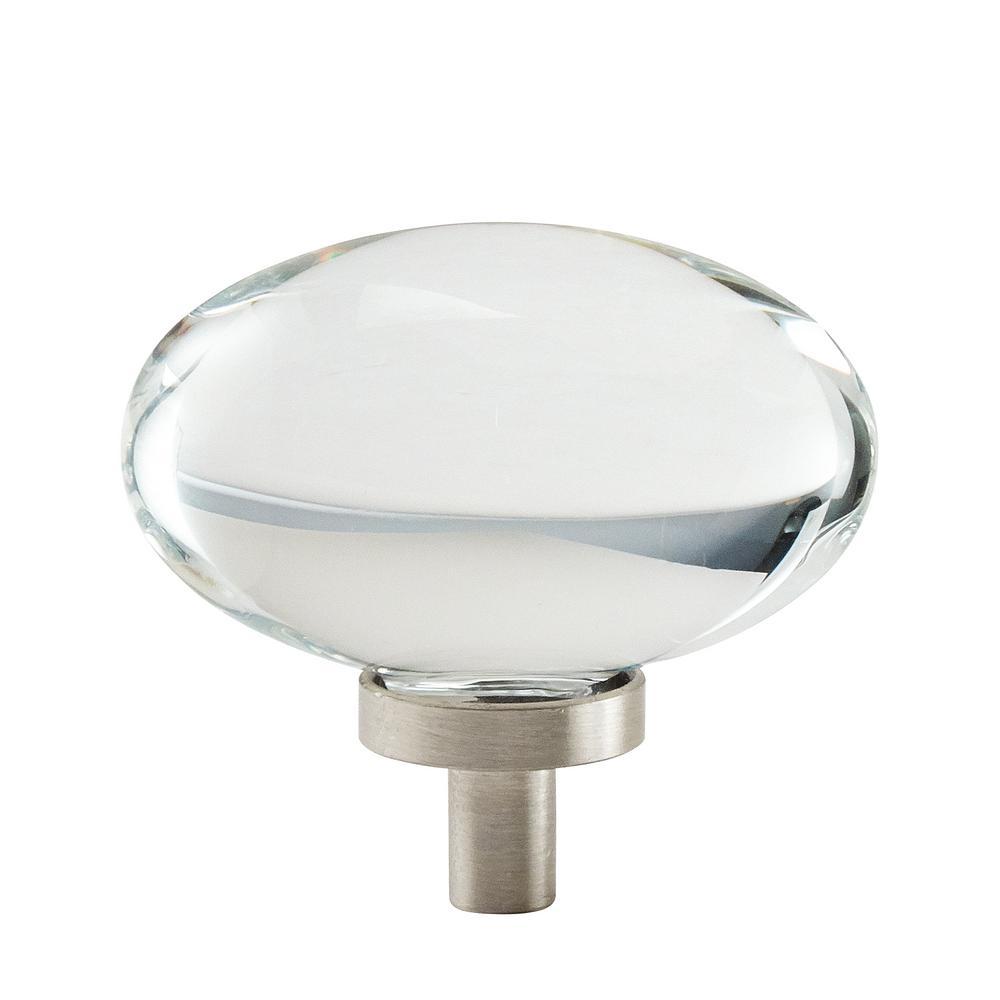 Glacio 1-3/4 in. L (44 mm) Clear/Satin Nickel Cabinet Knob