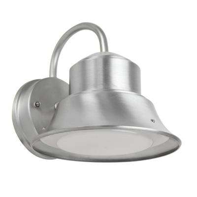 12-Watt Nickel Outdoor Integrated LED 9.5 in. Security Area Wall Pack Light with Dusk to Dawn Photocell Sensor