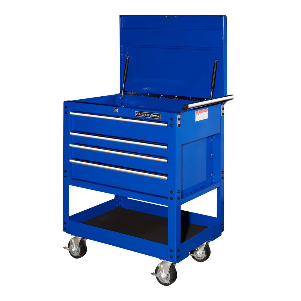 4 Drawer Deluxe Utility Cart In Blue