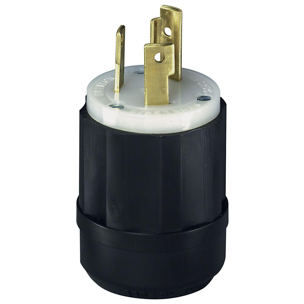 Leviton 30 Amp 125-Volt Locking Grounding Plug, Black/White