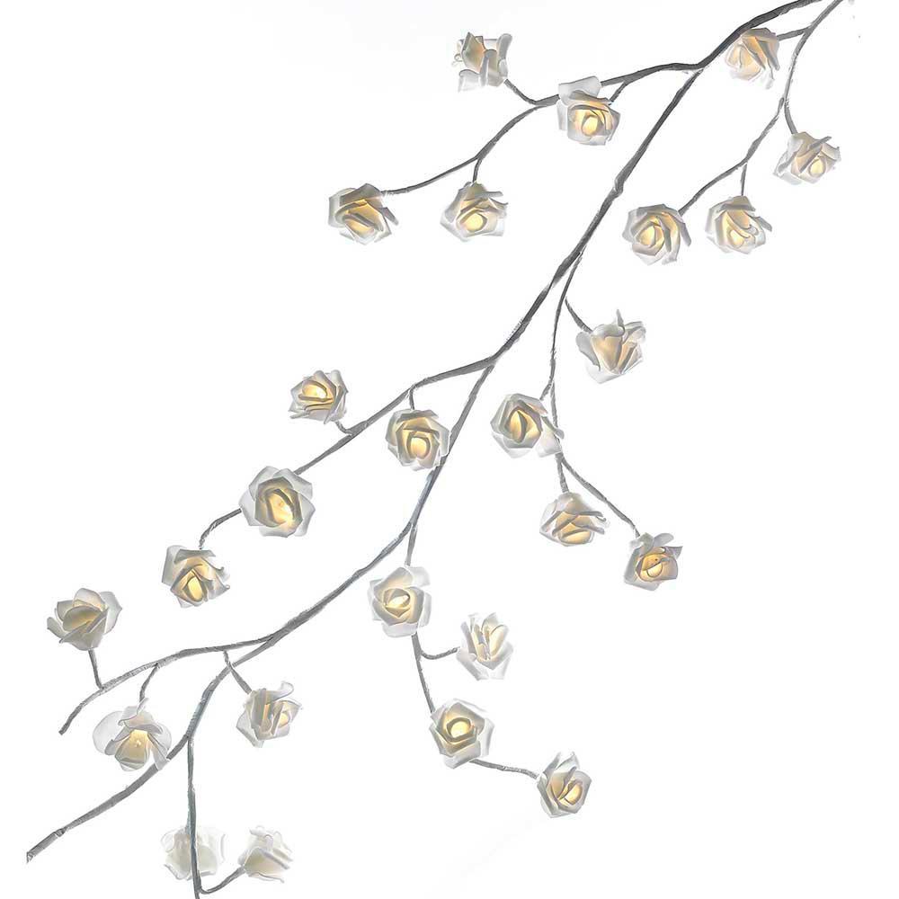 Kurt Adler 6 ft. White Garland with 48 Warm White Rose Lights