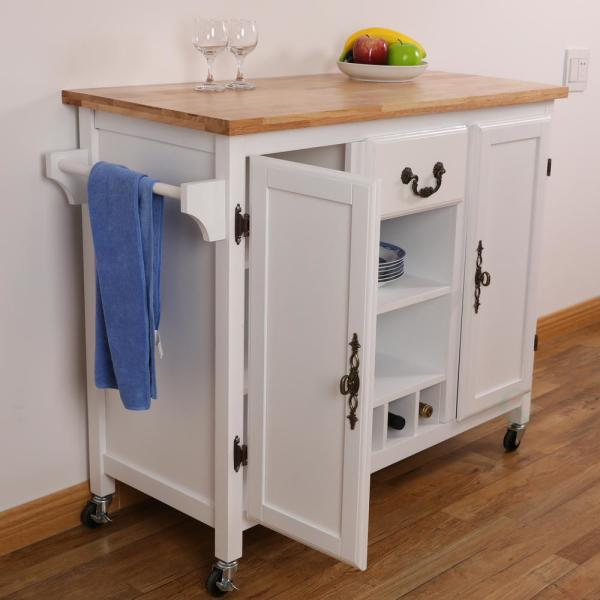 Basicwise White Large Wooden Kitchen Island Trolley With Heavy