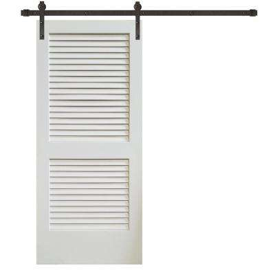 36 in. x 84 in. Plantation Louver 2-Panel Primed Wood Barn Door with Sliding Door Hardware Kit