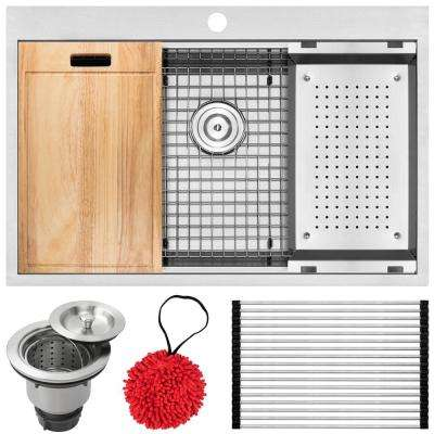 Bradford Zero Radius Drop-In 16-Gauge Stainless Steel 33 in. 1-Hole Single Basin Kitchen Sink with Accessory Kit