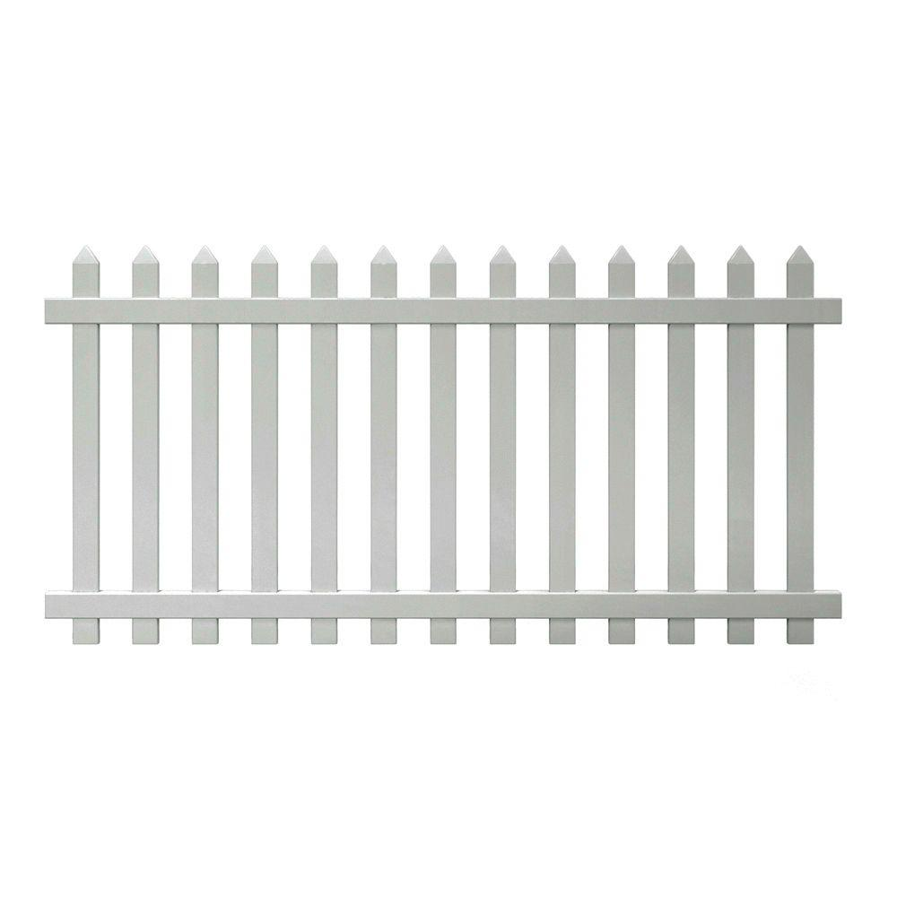 Vinyl fence panels home depot Hx White Vinyl Spaced Picket Fence The Home Depot Veranda Glendale Ft Ft White Vinyl Spaced Picket Fence