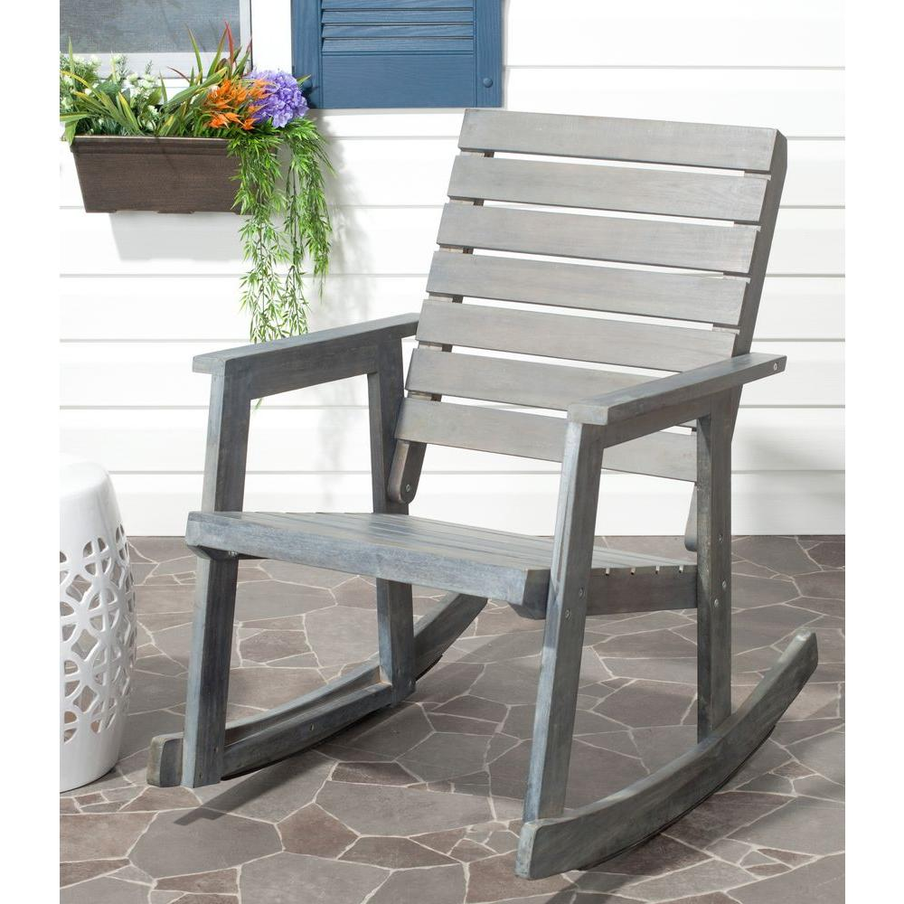 Safavieh Alexei Ash Gray Acacia Wood Patio Rocking Chair FOX6702A   The  Home Depot. Safavieh Alexei Ash Gray Acacia Wood Patio Rocking Chair FOX6702A