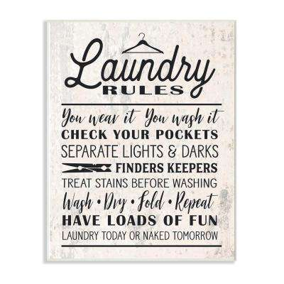 "12.5 in. x 18.5 in. ""Washed Texture Laundry Rules Typography with Icons"" by Lettered and Lined Wood Wall Art"