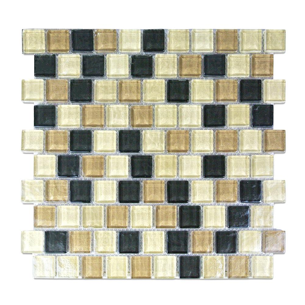 Beige Taupe Mosaic 1 In X 1 In Textured Glass Mesh Mounted Decorative Bathroom Wall Backsplash Tile 0 84 Sq Ft