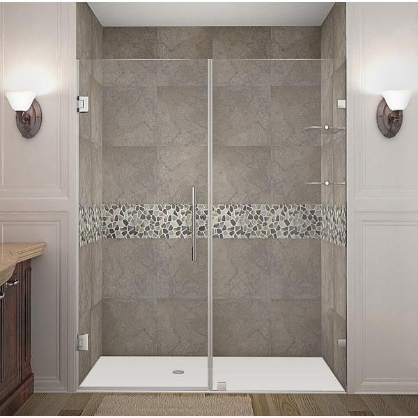 Nautis GS 61 in. x 72 in. Completely Frameless Hinged Shower Door with Glass Shelves in Stainless Steel