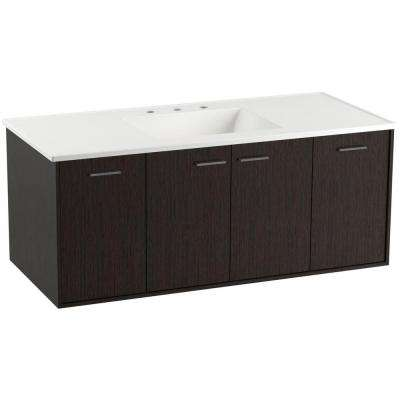 Jute 48 in. Vanity in Satin Oak with Vitreous China Vanity Top in White