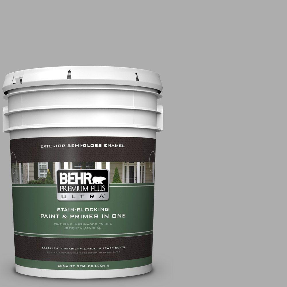 BEHR Premium Plus Ultra 5-gal. #N520-3 Flannel Gray Semi-Gloss Enamel Exterior Paint
