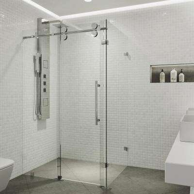 Winslow 34.625 in. x 74 in. Frameless Corner Bypass Shower Enclosure in Chrome with Clear Glass