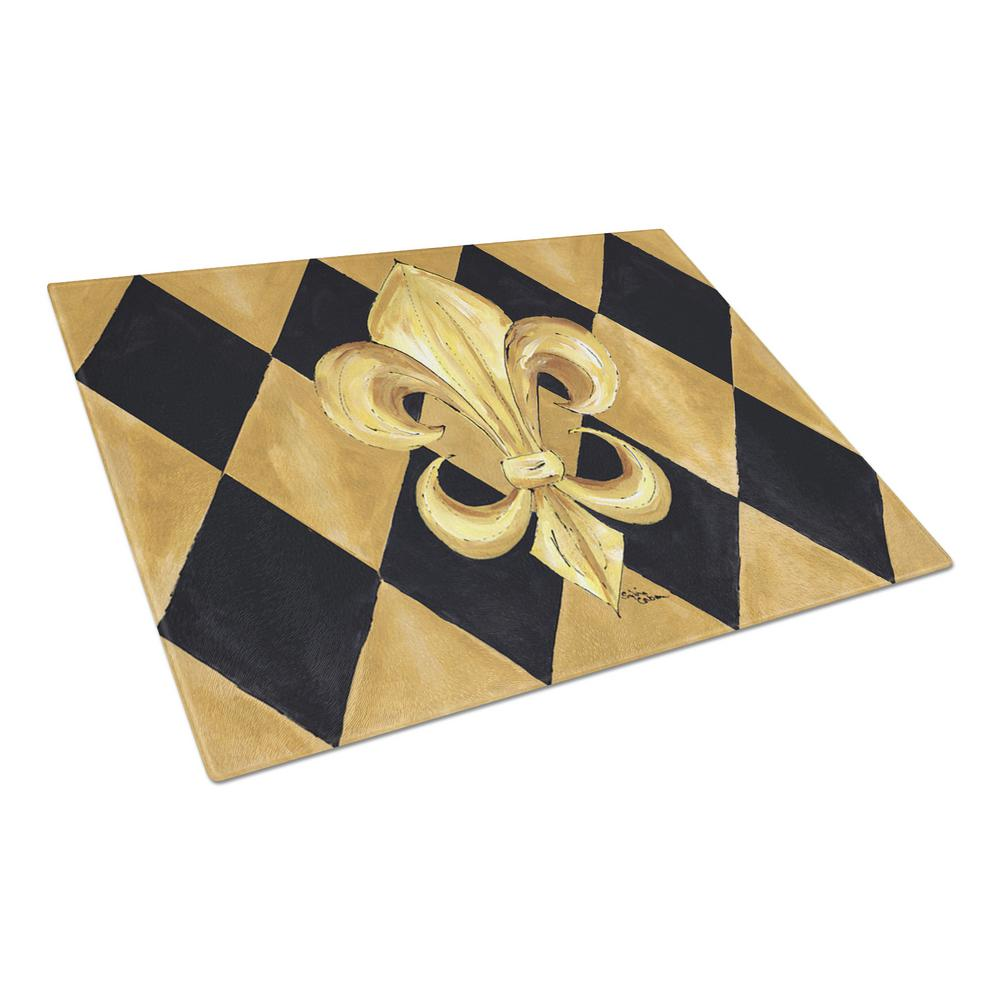 Black and Gold Fleur-de-lis New Orleans Tempered Glass Large Cutting Board