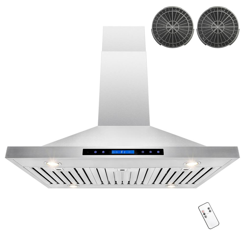 42 in. Convertible Kitchen Island Mount Range Hood in Stainless Steel