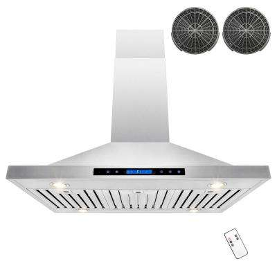 42 in. Convertible Kitchen Island Mount Range Hood in Stainless Steel with Remote, Dual Touch Control and Carbon Filter