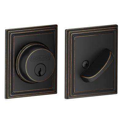 Single Cylinder Aged Bronze Deadbolt with Addison Trim